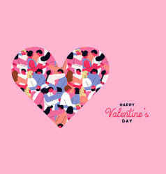 valentines day greeting card pink couple heart vector image