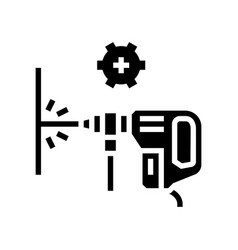 wall drilling glyph icon vector image