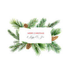 watercolor christmas banner with fir vector image