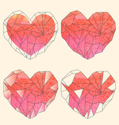 Watercolor crystal hearts set on beige background vector
