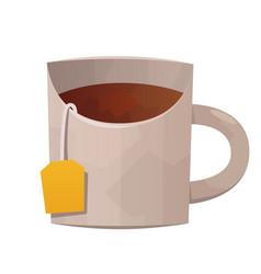 White tea mug on white background vector