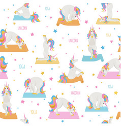 White unicorn yoga poses and exercises cute vector