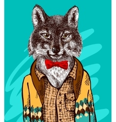Wolf in knitted sweater vector