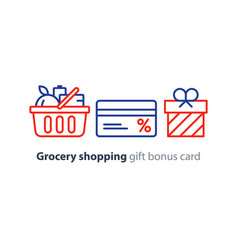 food basket grocery order shop special offer bonus vector image vector image