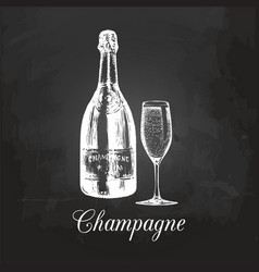 hand sketched champagne bottle and glass vintage vector image