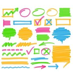 Highlighter Marking Design Elements vector image vector image