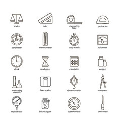 measuring signs black thin line icon set vector image