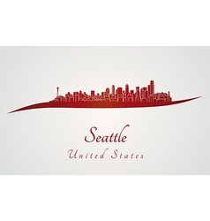 Seattle skyline in red vector image vector image