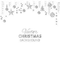Sparkling christmas glitter ornaments silver vector