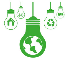 green silhouette with bulb lights with recycling vector image