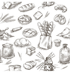 seamless bread bakery background vector image vector image