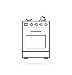 thin line gas stove icon with shadow vector image vector image