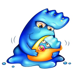 A caring blue monster vector image vector image
