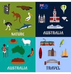 Australia flat travel symbols and icons vector image vector image
