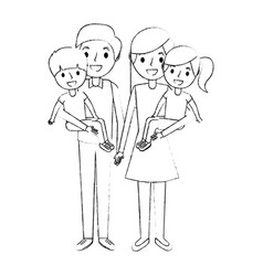 family dad with little son and mom holding vector image