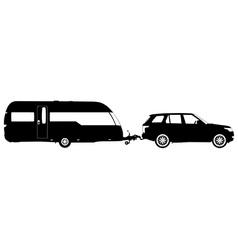 Vehicle towing a caravan silhouette vector image vector image