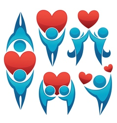 bright love symbols and logo vector image vector image