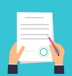 businessman is signing a contract agreement icon vector image vector image