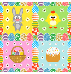 easter seamless set background card vector image