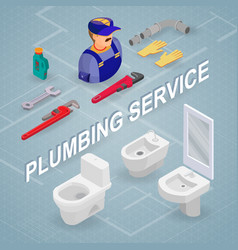 Plumbing service isometric interior repairs vector