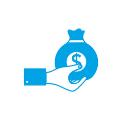 silhouette man hand with bag with cash money vector image vector image