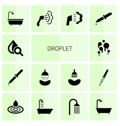 14 droplet icons vector