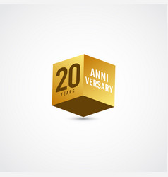 20 years anniversary celebration gold 3 d label vector