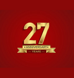 27 years anniversary golden design color vector