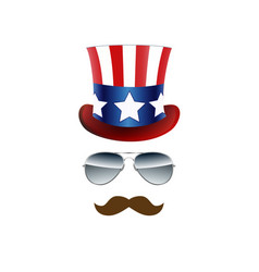 American cowboy usa flag hat and glasses vector