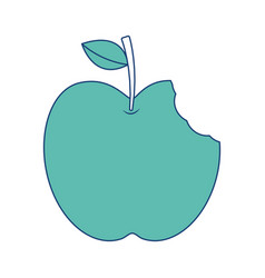 Apple with green leaf and bite food vector