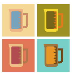 Assembly flat icons coffee measuring cup vector