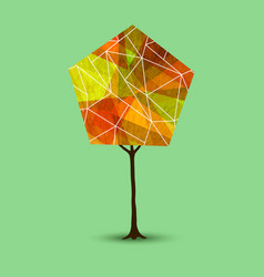Autumn tree in abstract geometry shape style vector