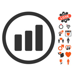 bar chart increase icon with dating bonus vector image