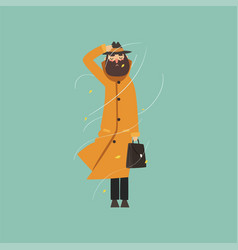 Bearded man in warm orange overcoat and hat on a vector