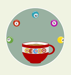 bingo coffee cup and balls in a border vector image
