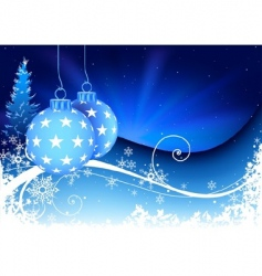 blue Christmas and snowy floral vector image