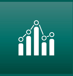 business graph icon chart flat on green background vector image