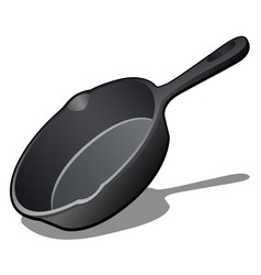 Cartoon cast iron skillet with non-stick coating vector