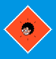 cartoon character is a geek in a flat style image vector image