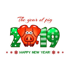 cartoon greeting banner in year pig vector image