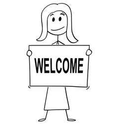 cartoon of woman or businesswoman holding sign vector image