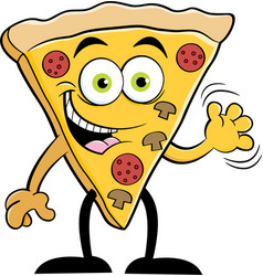cartoon slice of pizza waving vector image
