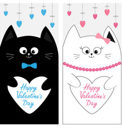 Cat family couple holding white heart shape paper vector