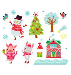 christmas animals set characters vector image