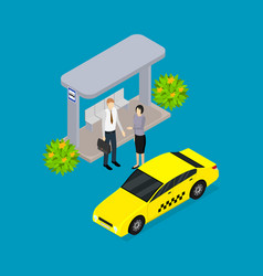 city public transport yellow taxi car 3d isometric vector image