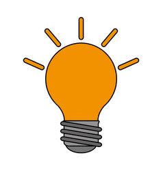 Color image cartoon light bulb with brigntness vector