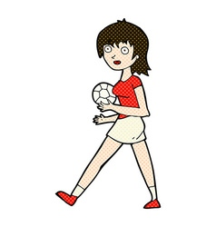 comic cartoon soccer girl vector image
