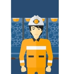 Confident miner in hardhat vector image