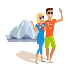 Couple Selfie on Summer Vacation in India vector image