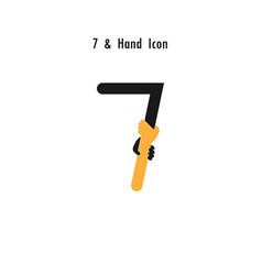 Creative 7- number icon abstract and hands icon vector
